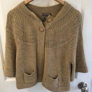 Kenar cardigan, EUC, gorgeous heavy knit, tan/gold